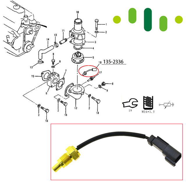 temperature sensor heavy duty excavator water temp for caterpillar cat 320b  e320c e200b e312b 3066 3116