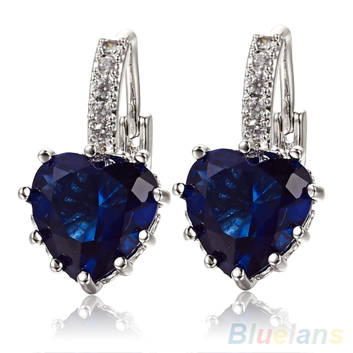 Hot sell Fashion Women's Sapphire Blue Crystal Heart Leverback Earrings 88YR