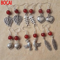 925 Sterling Silver short love fish feather ear hook anti allergy National Natural Crystal Red Earrings