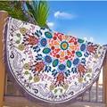 Vagabond Beach Wildflowers Printing with Tassel Roundie White Blanket Towel Hot Sell 2016