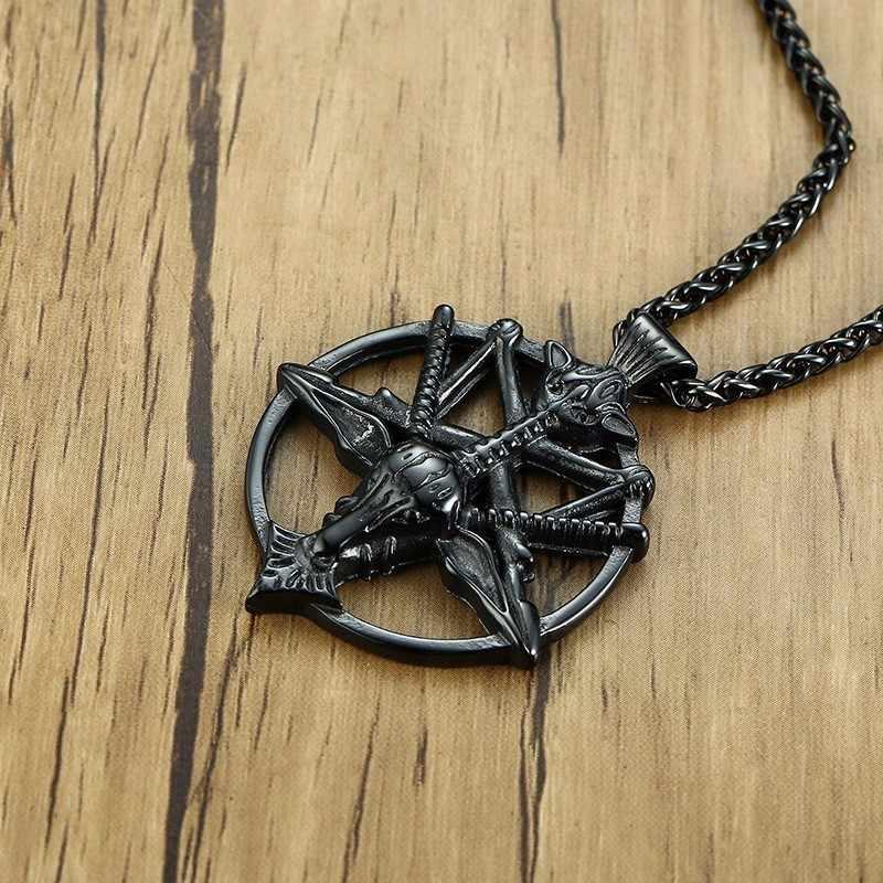 Preto baphomet invertido pentagrama cabeça de cabra pingente vintage aço inoxidável laveyan satanismo oculto colar