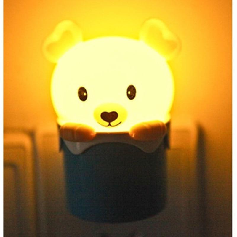 Light Sensor Control Bear LED Night Light 110V 220V Cartoon Mini Animal Bedroom Bedside Lamp For Children Kids Baby US EU Plug