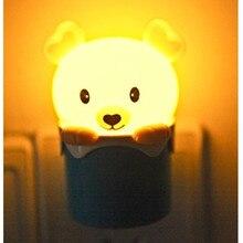 Light Sensor Controle Beer Led Night Light 110V 220V Cartoon Mini Dier Slaapkamer Bedlampje Voor Kinderen Kids baby Us Eu Plug