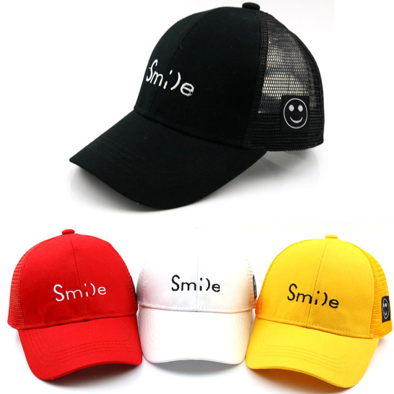 3e6a48f50c5 Kids Smile Casual Baseball Caps Hip Hop Cap Smiley Face Tag Embroidery  Snapback Hats Baby Kid