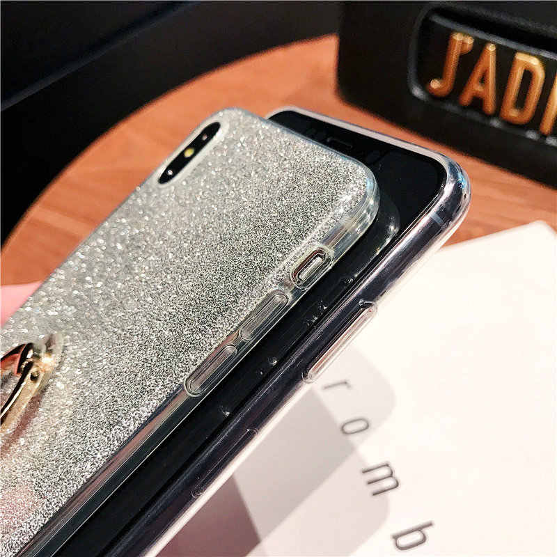 Silicone Bling Glitter Phone Case For iPhone X XR XS Max Soft TPU Ring Cover For iPhone 5 5S 6 6S 7 Plus 8 Plus Coque Fundas