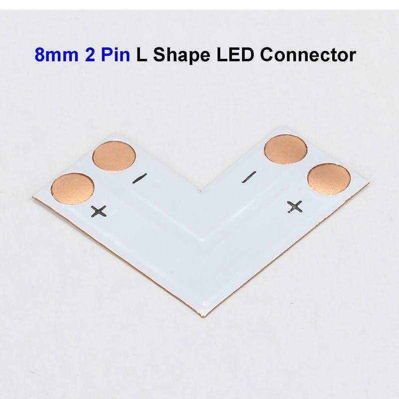 b8b982282 10 pcs 8mm 2 Pin 3528 LEVOU Adaptador Conector Tira L Forma para SMD 3528  3014 Única Cor Luzes LED Strip Sem Solda