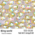 SS3-SS30 Jonquil AB Nail Art Rhinestones With Round Flatback For Nails Art Cell Phone And Wedding Decorations
