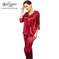 2015 Brand New Design Women Longsleeve Loungewear Lace And Bow Decoration Faux Silk 2 Piece Women