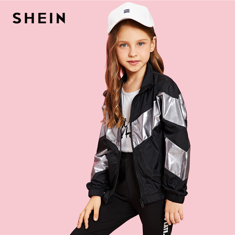 SHEIN Kiddie Girls Zip Up Color Block Jacket Coat Kids Clothes 2019 Spring Streetwear Long Sleeve Casual Jacket For Children figure print zip up raglan sleeve jacket