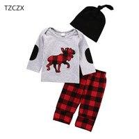 TZCZX-7520 Nuovi Bambini Ragazzi Delle Neonate Plaid Stampato O-Neck Pullover set Per 6 Mesi a 2 Anni I Bambini Indossano vestiti