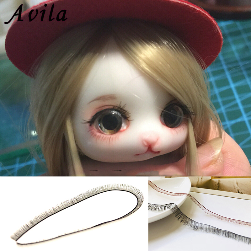 2 Pieces Doll Eyelash 1CM*20CM Diy Reborn Baby and <font><b>BJD</b></font> Black Brown Eyelash Doll Accessories Free Shipping image