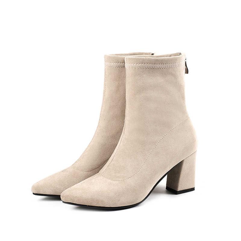 Fashion Enkel Elastische Sok Laarzen Chunky Hoge Hakken Stretch Vrouwen Herfst Sexy Booties Wees Teen Vrouwen Pomp Size 33- 43