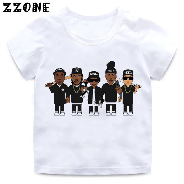 780b4952e Boys and Girls NWA Straight Outta Compton Print T shirt Baby Summer White  Tops T-shirt Kids Casaul Clothes,HKP558