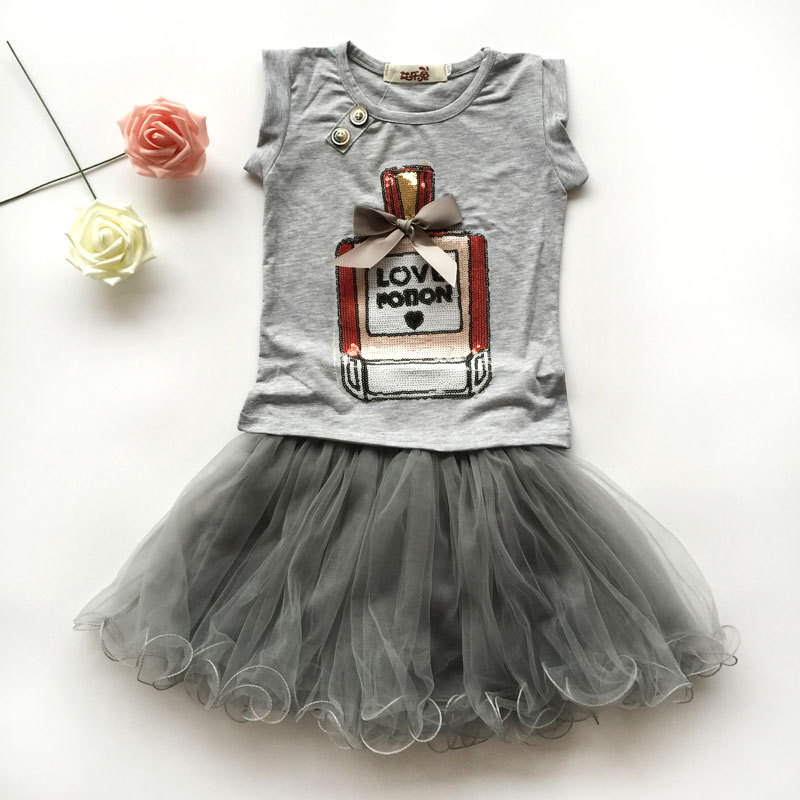 2018 New Princess Baby Girls Clothing Sets Summer Sleeveless Tops and Tutu Seqiun Lace Mini Skirt 2Pcs Party Girls Outfits 2-7Y 2018 little girls 2 pieces tutu skirt clothing sets summer cartoon cute cat toddler girl short tops lace skirts kids outfits