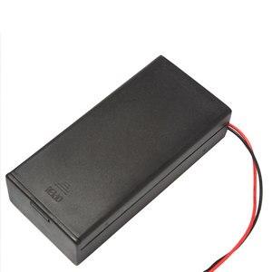 Image 3 - Caja de batería de plástico negro, 2 secciones, 18650, con interruptor, bricolaje, contenedor de soporte con Clip con cable de plomo, 1 ud.