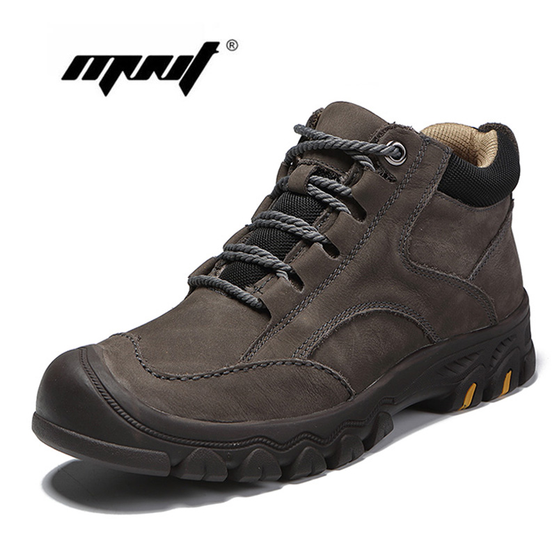 Genuine Leather Men Winter Shoes Warm Plush Fur Lace-Up Men Boots Retro High Quality Shoes Men Outdoor Waterproof Snow Boots