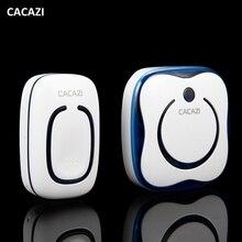 CACAZI 280M Operating Range IP44 Waterproof Wireless Doorbell 36 Ringtones  4 Volume Doorbell Flashing Light For