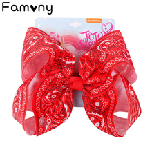 7 Large Amoeba Hair Bow With Clip For Girls Kids Boutique Printed Ribbon Knot Paisley Jumbo Hairgrips Accessories
