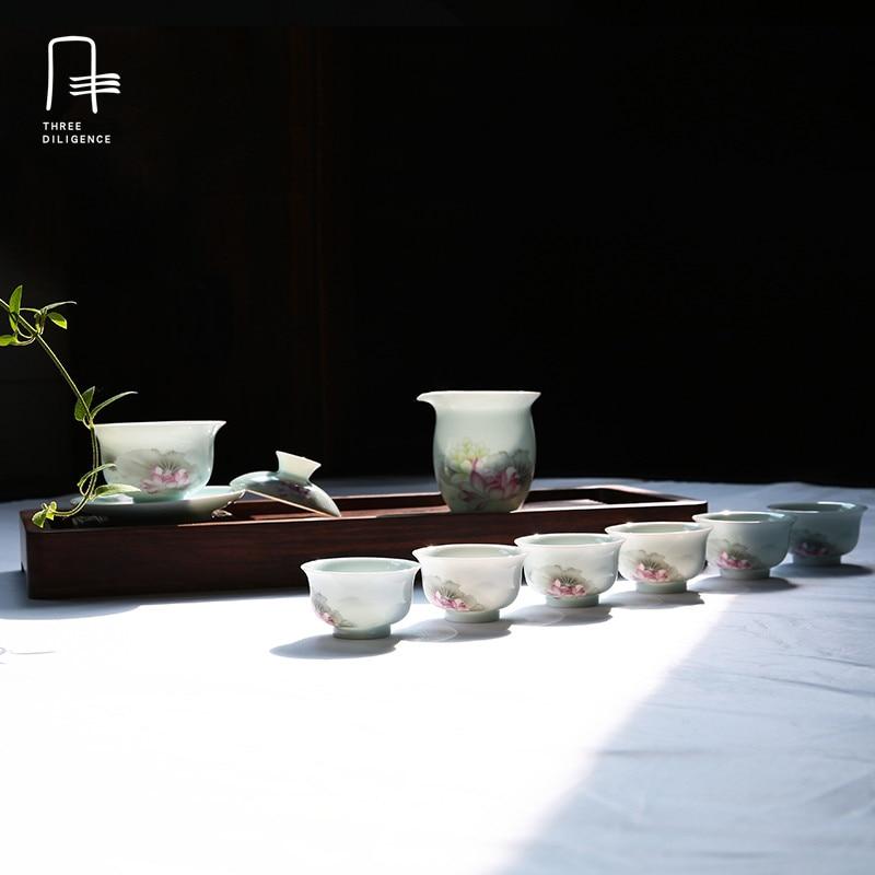 8 шт./компл. Цзиндэчжэнь Изысканный фарфор Чай набор кунг-фу Чай Кубок гайвань чашки спр ...
