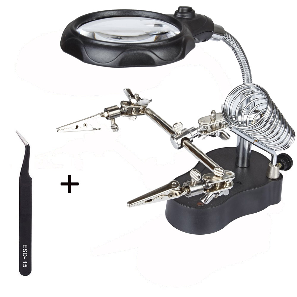 New Magnify Glass 3.5x 12X 3rd Helping Clip LED Lighting Handheld Magnifying Soldering Iron Stand Glass Len Magnifier Repair