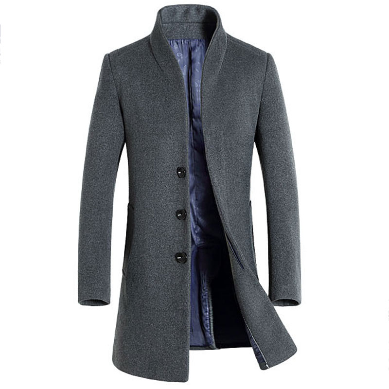 Mens Woolen Trench Coat Long Solid Color European and