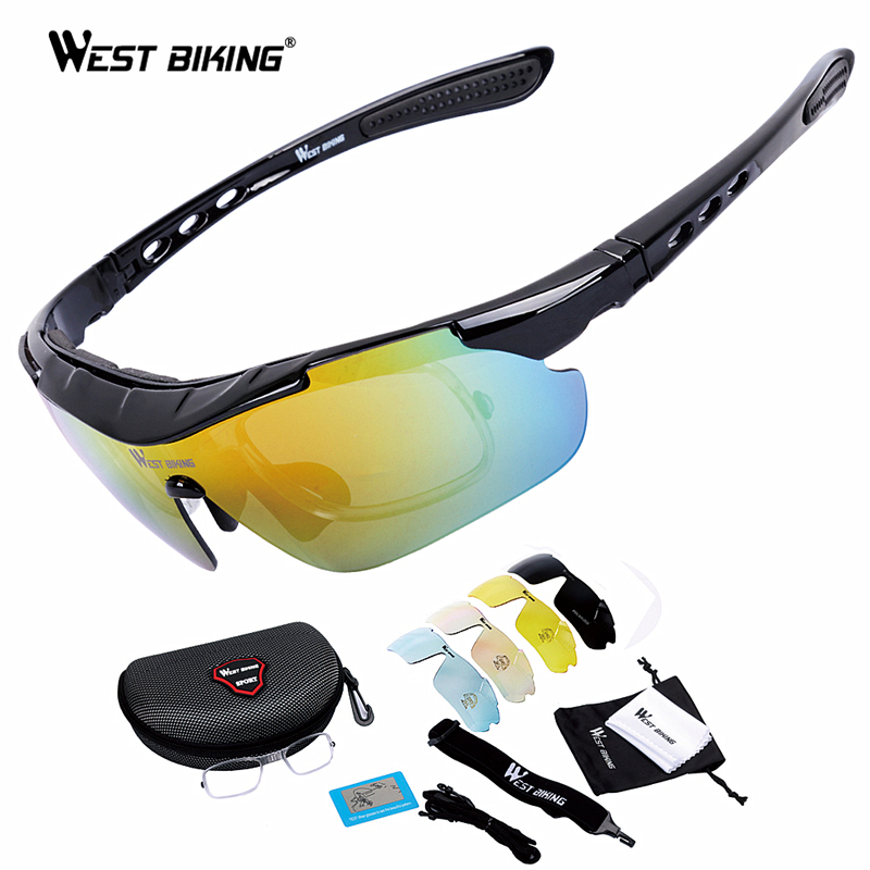 WEST BIKING Cycling Glasses 5 Lens Windproof Anti-fog With Mypia Frame Sport MTB Bike Bicycle Polarized Cycling Glasses 5 lens rockbros cycling glasses photochromic nxt lens uv400 sport glasses bicycle cycling sunglasses mtb bike glasses gafas ciclismo