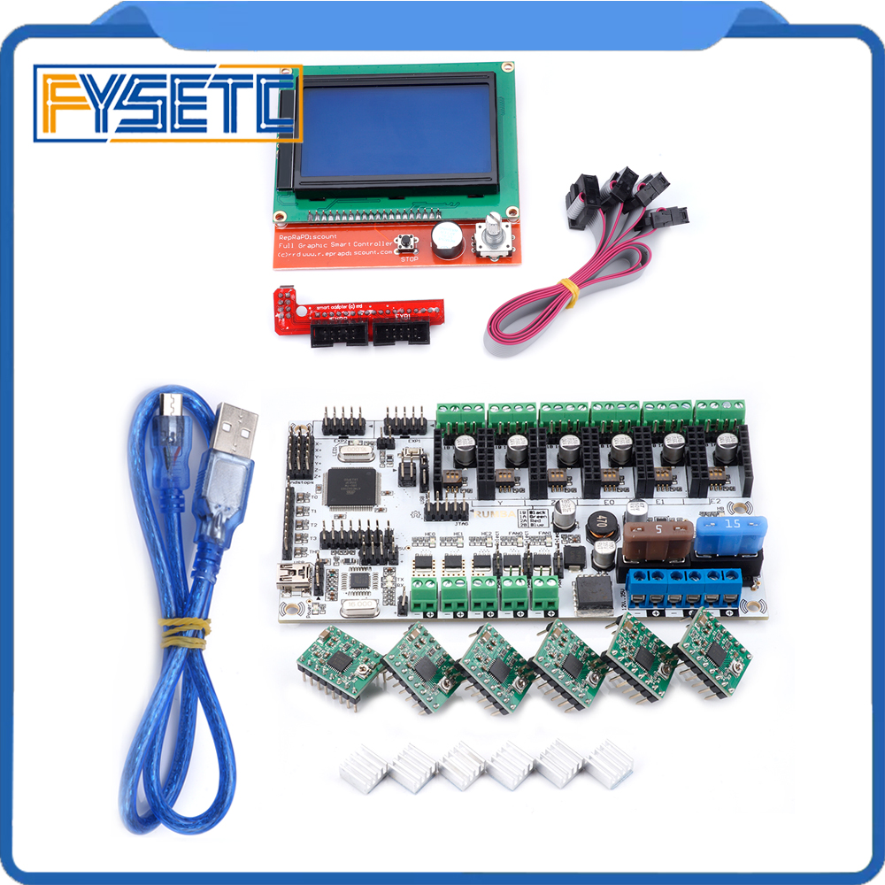 12864 LCD Display+ 6pcs A4988 Green/Red Stepper Motor Driver + Rumba+ Board Support 3pcs Extruder Rumba Plus Motherboard цена 2017
