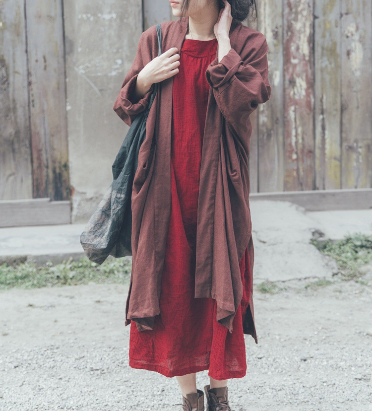 Spring 2015 product launches, original design loose big yards 70% linen 30% cotton womens trench coat