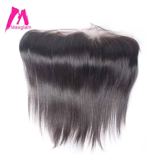 Maxglam Lace Frontal Closure 4X13 Pre Plucked Hairline Brazilian Hair Straight Remy Human Hair Free Shipping