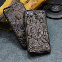 Luxury Carved 3D Stereo Ebony Wood Case for iPhone 7 TPU Full Protective Back Cover Phone Cases For iPhone 7 plus 8 6 6s plus
