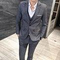 3 Pcs 2016 Fashion Top Men's Suits Set (Blazer + Vest + Pants ) High Quality Party Dress Suit Wedding Groom Grey Clothing Set