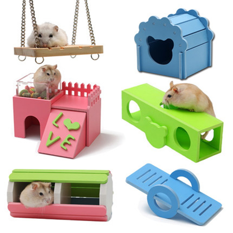 Hamster Seesaw Timber Wood House Toys Hamster Golden Silk Bear Bungalow Sleeping Nest Toy Winter Warm House Swing Hamster Cage