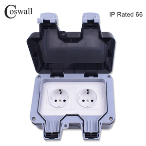 Image 2 - Coswall IP66 Weatherproof Waterproof Outdoor Wall Power Socket 16A Double EU Standard Electrical Outlet Grounded AC 110~250V