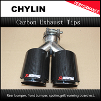 Inlet 2 5 Outlet 3 5 Stainless Car Glossy Carbon Fiber Car Exhaust Tip Tailpipe Car