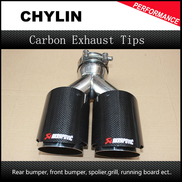 """Inlet 2.5"""" Outlet 3.5"""" Stainless car glossy Carbon Fiber Car Exhaust Tip tailpipe car-styling exhaust car muffler tip Akrapovic"""