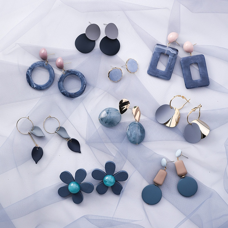 MENGJIQIAO 2019 Hot Sale 30 Style Blue Color Fashion Elegant Geometric Dangle Earrings For Women Cute Pendientes Mujer Jewelry