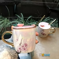 2019 Simple Nordic Pearlescent Glazed Mark Cup Cherry Blossom with Covered Spoon Flamingo Ceramic Cup Office Women's Coffee Cup
