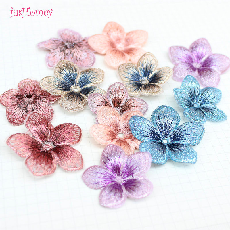 30PCS Boutique Embroidery Five Petals Flower 3D Appliques DIY Accessories 40mm/35mm for Party Decor, Doll Embellishment(China)
