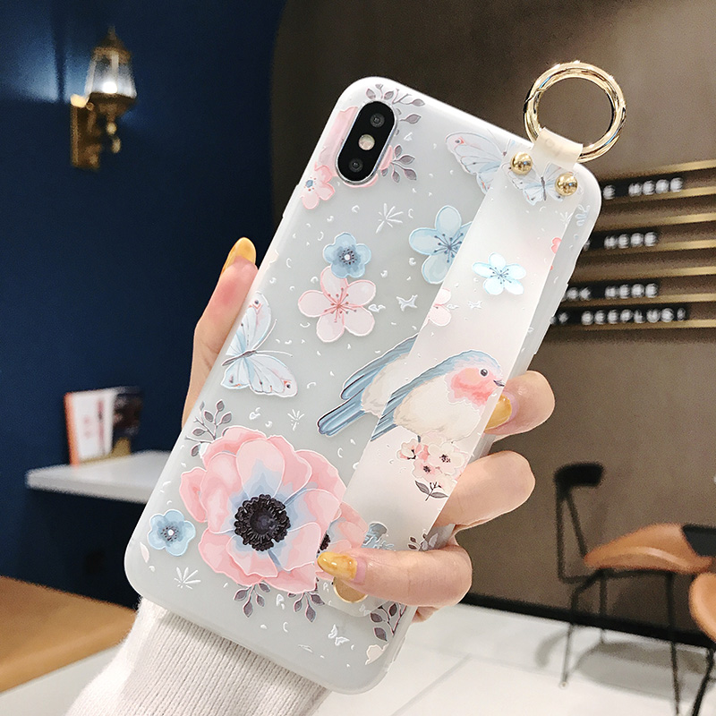 SoCouple Flower Soft TPU Wrist Strap Case For iphone 7 8 6 6s plus X Xs max XR Relief Floral Phone Holder Case Transparent Cover (3)