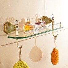 Gold Brass Jade Base Bathroom Shelf Shower Cosmetic Shelf with Hook Wall Mount