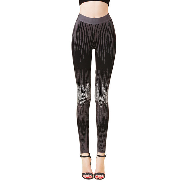 Free Shipping 2016 New Fashion Black and White High Quality Jacquard Skinny Bandage Pants