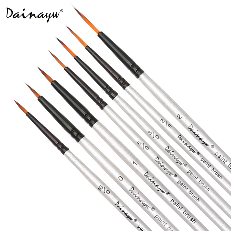 Dainayw 7Pcs Detail Paint Brushes Round Pointed Tip Nylon Hair Painting Brush Set For Watercolor Gouache Art Supplies