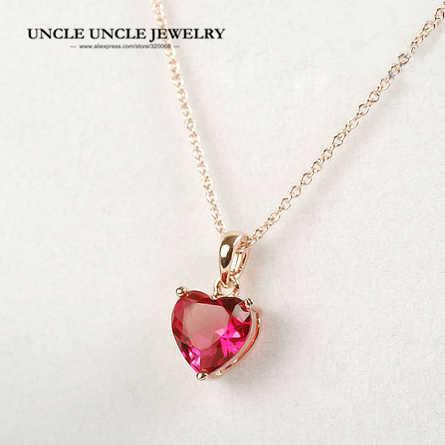 หวาน Rose Gold สีสีแดง Zirconia การตั้งค่าหัวใจออกแบบ Lady จี้สร้อยคอของขวัญขายส่ง