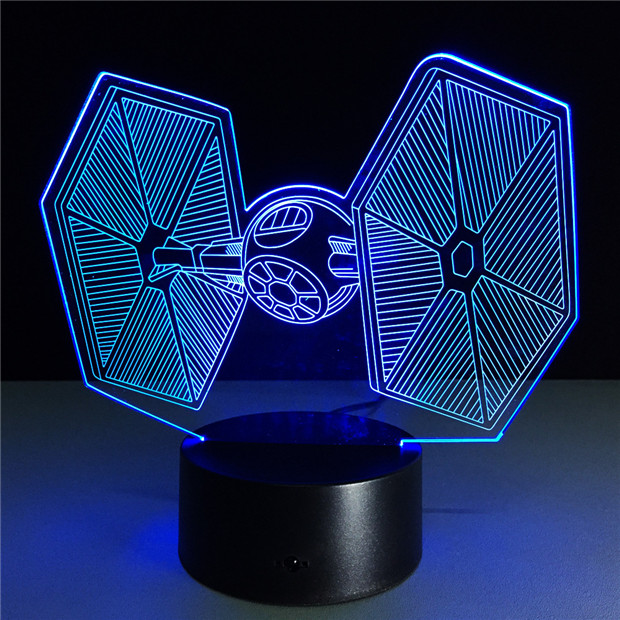 Star Wars TIE Fighter Color Changing Light Cool Laser Engraved Light 3D Deco Lamps Creative Gifts for Children GX-TF33