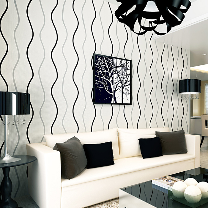 PAYSOTA Modern Black And White Vertical Stripes Non-woven Wall Paper Roll For Bedroom Living Room Home Decor