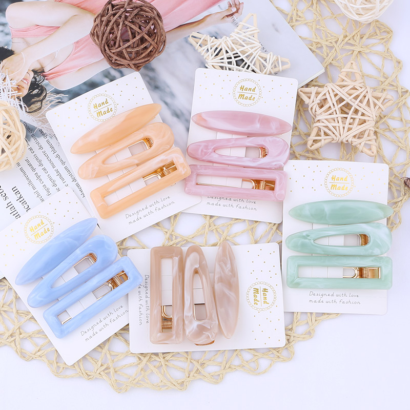 3pcs/set Water Drop Duckbill Clip New Metal Girl Hairpin Gold Square Hairpin Ladies Accessories Fashion Hair Tools Barette