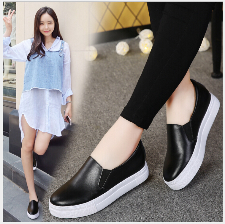 2017 spring autumn genuine leather flat shoes woman round toe platform fashion casual slip-on women flats loafers 2016 autumn fashion women full grain leather flat heel white shoes student bling round toe leather brand basic flats loafers