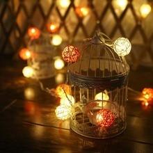 цены 2.2m/Set 20 Lamp Color 4cm Rattan Ball Battery Box Led String Lights New Year Christmas Decorations Christmas Ornaments for Home
