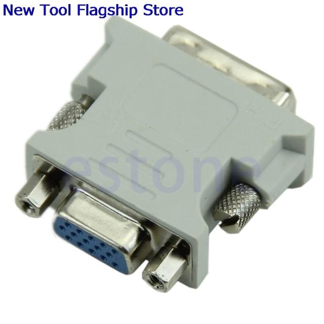 Hot Jual 15 Pin VGA Perempuan ke DVI-D Laki-laki Adapter Converter LCD 2018 Baru