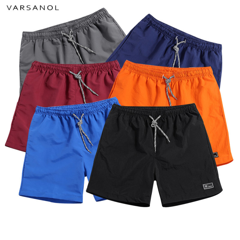 Varsanol Men's Shorts New 2018 Polyester Shorts For Men Summer Solid Breathable Elastic Waist Casual Man Shorts Male 11colors chic mid waist button design ripped denim shorts for women